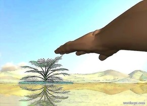 a hand leans 90 degrees to the right. it is 5 feet above the ground. a shiny huge palm tree is on a big pond. it is 150 feet right of and 60 feet in front of the hand. ground is 50% shiny. the pond leans 2 degrees to the right. it is .1 foot in the ground.  sky leans 45 degrees to the front. sun is beige. a sea green light is on the palm tree.