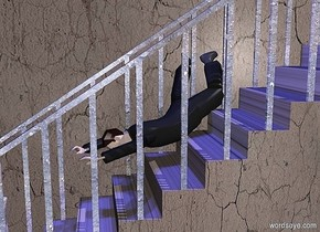 a [dirt] backdrop.a 100 inch tall stair.the step of the stair is [dirt].the post of the stair is shiny dirt. the railing of the stair is shiny dirt.two blue lights are above the stair.a 40 inch tall man is -60 inch above the stair.the man is facing east.the man leans 120 degrees to the front.the man is -60 inch left of the stair.