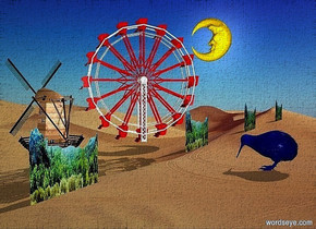 five 150 inch tall and 700 inch wide  forests.a 400 inch tall ferris wheel is -60 inch in front of the forests.the ferris wheel is -100 inch above the forests.the ferris wheel is facing southwest.a 200 inch tall moon is 400 inch left of the ferris wheel.the moon is -100 inch above the ferris wheel.a 250 inch tall wood windmill a 150 inch right of the ferris wheel.the windmill is -400 inch above the ferris wheel.a 110 inch tall blue kiwi is -400 inch in front of the forests.a baby blue light is 50 inch above the kiwi.