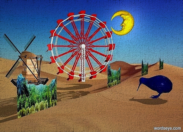 Input text: five 150 inch tall and 700 inch wide  forests.a 400 inch tall ferris wheel is -60 inch in front of the forests.the ferris wheel is -100 inch above the forests.the ferris wheel is facing southwest.a 200 inch tall moon is 400 inch left of the ferris wheel.the moon is -100 inch above the ferris wheel.a 250 inch tall wood windmill a 150 inch right of the ferris wheel.the windmill is -400 inch above the ferris wheel.a 110 inch tall blue kiwi is -400 inch in front of the forests.a baby blue light is 50 inch above the kiwi.