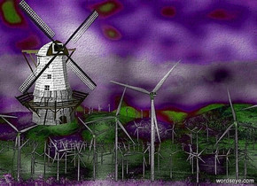 a [wd] backdrop.a 50 inch tall wood windmill.the spinning blade of the windmill is white.