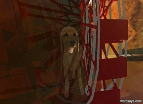 a 10 foot tall clear fortune cookie. a 3 foot tall ferris wheel is -5 feet in front of and -7 feet above the cookie. a white light is in front of the ferris wheel. a 1 foot tall dog faces left. it is behind and -2 feet left of and -2.5 feet above the ferris wheel.