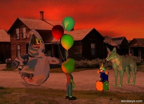 town backdrop.a clown.a small child is 1 feet in front of the clown.the child is facing north.a small ghost is 1 feet left of the child.it is facing the child.the child's hair is orange.rust sun.the ghost's mouth is clear.the camera light is green.a red light is in front of the child.pale shadow plane.a small shiny wolf is behind the clown.