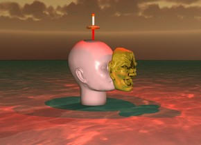 There is an ocean. There is a giant head over the ocean. The head is pink. There is a red sword inside the head. There is a red light above the sword. The sword is upside-down. It is dawn. There is a head one inch in front of the head. The head is 9 inches above the ocean. The head is golden. There is a small red light above the head.