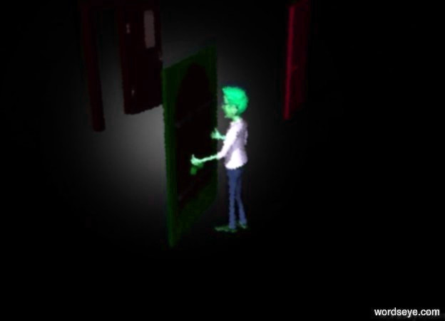 Input text: The  [scene]  backdrop. There is a man in front of a door. he is facing the door. the backdrop is dark. there is a second door to the right of the door. the second door is 5 feet to the right. there is a third door to the right of the second door. the doors are dark blue. there is a purple light behind the man