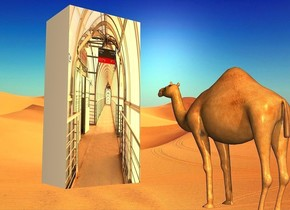 a 80% dark picture postcard is 5.8 inches wide and 4.1 inches tall. it leans 90 degrees to the front. shadow plane is invisible. a 6 inch tall camel. it is .5 foot in front of and -.4 foot right of the postcard. sun is navajo white. the camel faces the postcard. sun's azimuth is 200 degrees. camera light is  navajo white.