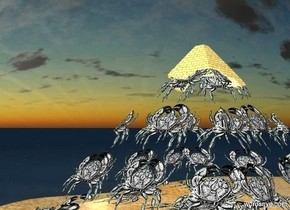 a crab pyramid is on a small sand lake.   a huge invisible ocean is  north of and west of the pyramid. the ocean faces the pyramid. ground is .1 foot tall. sun is navajo white.  ambient light is gold.