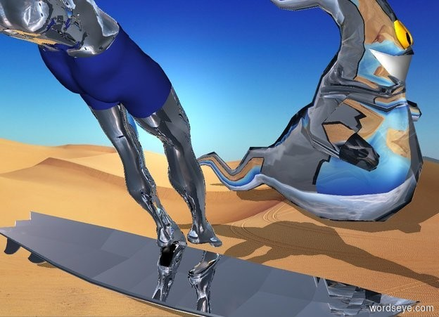 Input text: Silver surfer with frog ghost on sand
