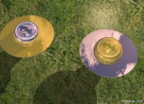 A silver circle is 6 inch in a gold sphere. Grass backdrop. A silver sphere is 2 feet right of the sphere. A gold circle is 6 inch in the sphere. Sky is leaning 10 degrees to the front. Sun is pink. It is dusk. Shadow plane. Azimuth of the sun is 210 degrees.