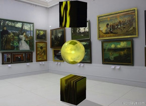 a[abstract]symbol.a gold tiny sphere is -7.5 inches above the symbol.gallery backdrop.pale shadow plane.