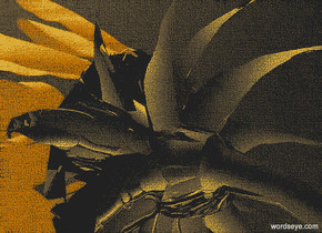 a silver sunflower.sky is black.ground is invisible.camera  light is black.