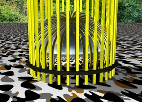 Silver sphere in yellow cage in camo space