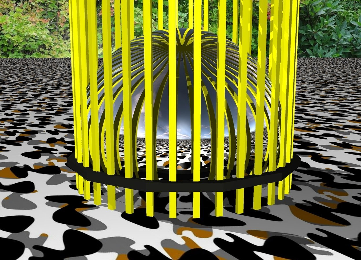 Input text:  Silver sphere in yellow cage in camo space