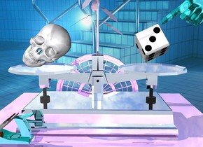 silver scale is on the big shiny lavender cube. 0.4 foot tall  matte texture skull is -5 inch in front of scale and -0.6 foot to left. skull is -0.2 foot above scale. skull is leaning -50 degrees to ground. backdrop is pool. 0.21 foot tall matte texture die is -6 inch in front of scale and -0.45 foot to right. die is -0.12 foot above scale.  die is leaning 35 degrees to the northeast. shiny  teal hand is -2 inch above die and -2 inch to right. hand is leaning 125 degrees to ground. small shiny lavender window is 1 inch behind cube and 1 foot above ground. window is -1.512 foot to left. white lily  is 1 inch behind scale's pin and -0.2 foot above scale. white lily's stem is shiny lilac. white lily's leaf is shiny lilac. small shiny teal hand plane is 1 inch in front of scale and -4 inch to left.