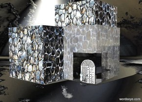 backdrop is  silver. a 1st [texture] cube. a 2nd [texture] cube is -.5 feet above and -.5 feet in front of and -.2 feet right of the cube. a 3rd clear  cube is -.3 feet in front of and -.5 feet right of the 1st cube. ground is invisible. a .4 foot tall door faces left. it is left of and -.3 feet in front of the 3rd cube. a .2 foot tall person is .1 foot left of the door. the person faces the door.