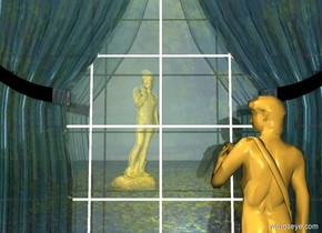 a 1st 10 foot wide clear curtain.  a 10 foot wide window is behind the curtain. a 10 foot wide shiny fantasy wall is 1 foot behind the window. a light is behind the window. a linen light is above and behind the window. a 1st  10 foot tall shiny statue faces northeast. it is 20 feet in front of and -5.5 feet left of the window. a 2nd small statue is in front of and -4.5 feet right of the curtain. it faces back. it is 2 foot in the ground. ground is invisible. sky leans 180 degrees to the front. shadow plane is invisible. a gold light is above and behind the 1st statue.
