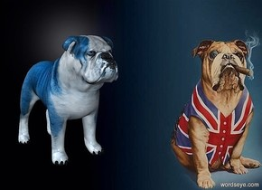 a [rb] backdrop.a 25 inch tall petrol blue bulldog.the bulldog is facing southeast.