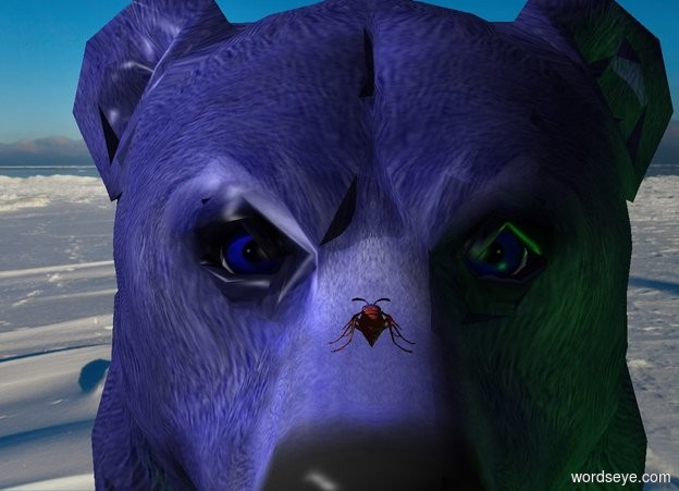 Input text: A wasp is -1.1 foot above and -1 inch in front of a blue bear. It is facing the bear. Camera light is black. A light is above and left of and in front of the bear. 2 green lights as in front of and right of the bear.