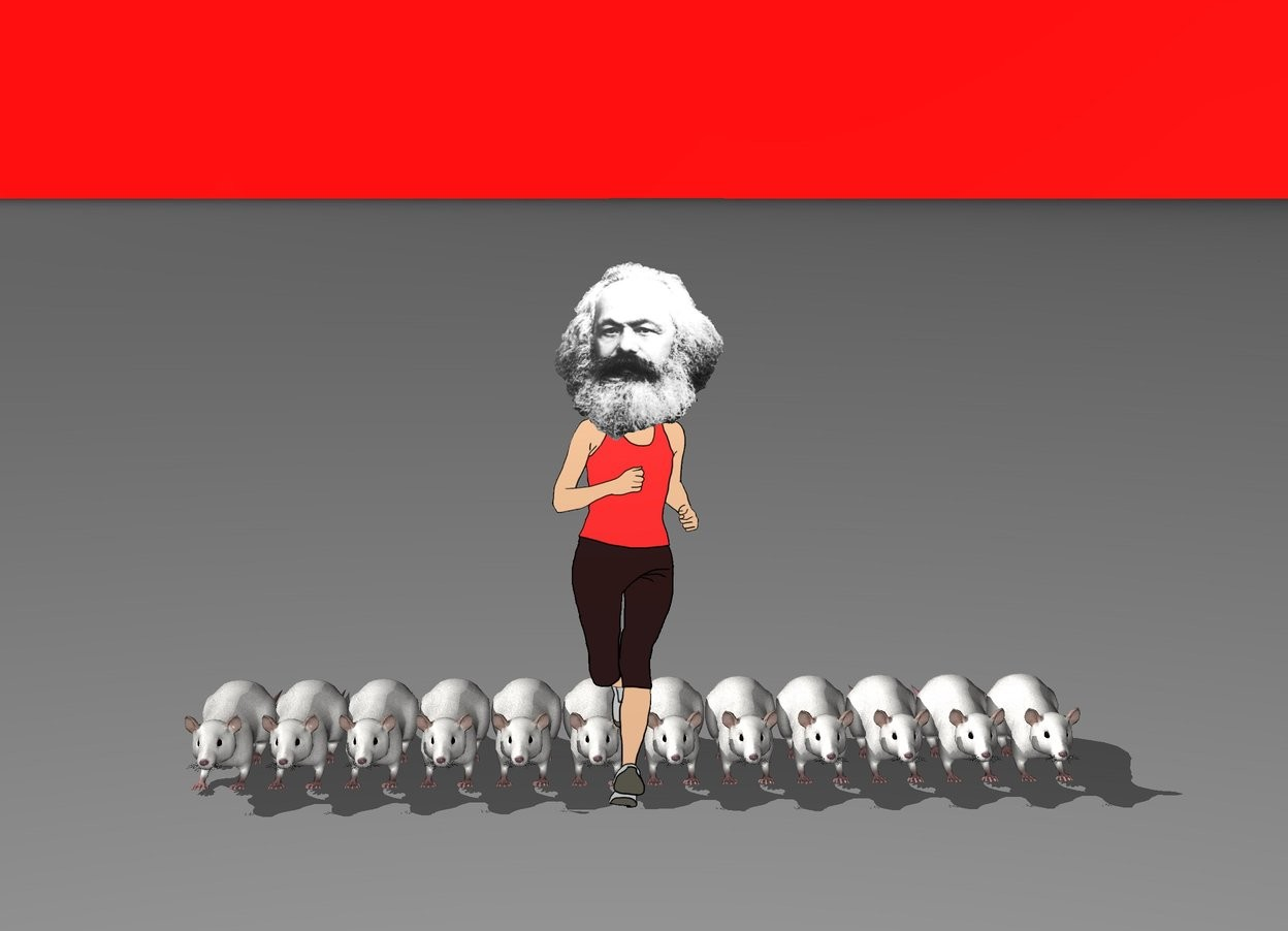 Input text: Karl Marx runs, behind him there are 12 giant rats. The sky is red. The world is yours.