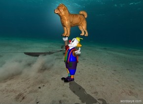 a small clown is on the sea, a (matisse) dog is above the clown