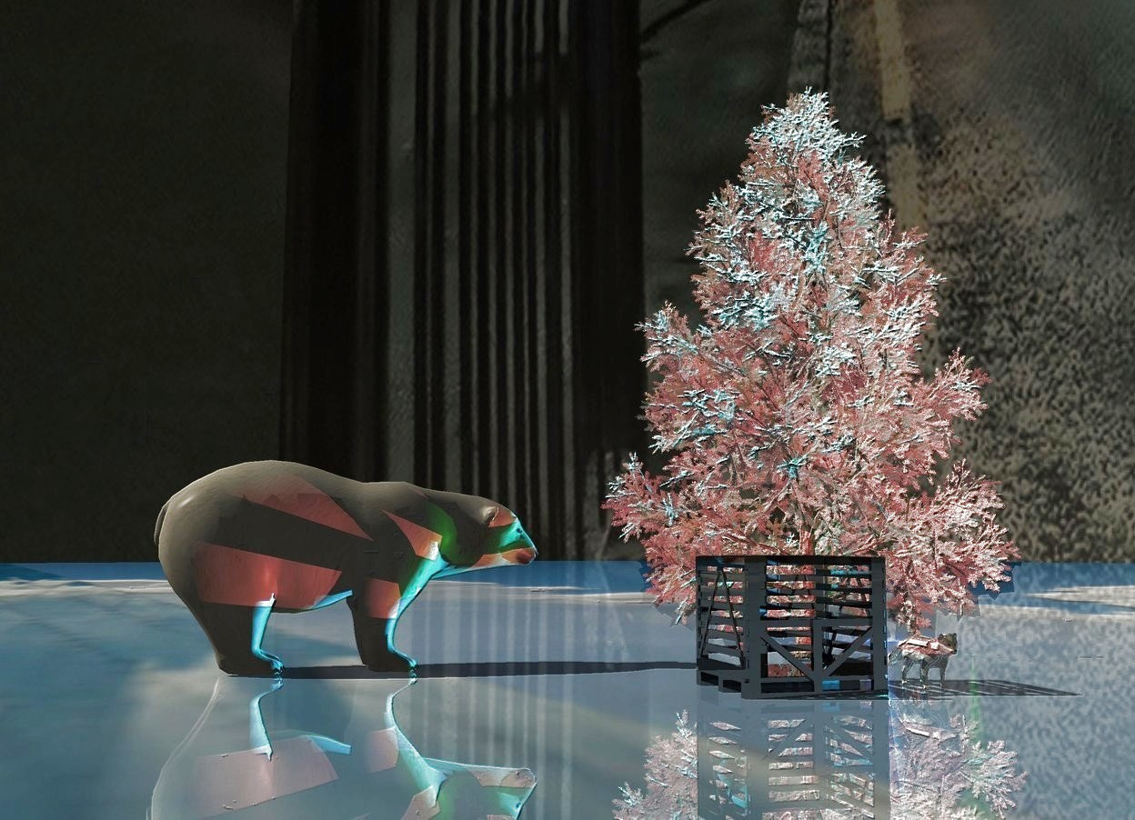 Input text: Shiny mirror ground. A huge white tree. A humongous bear is 20 feet left of the tree. It is facing the tree. Camera light is black. 3 cyan lights are behind and right of the tree. 30% dark sky. 3 huge navy lights are behind the light. An enormous black shiny box is in front of and -50 feet left of the tree. A scarlet light is in the box. City sky. A green light is right of the tree. The sun is cream. A humongous shiny fox is 15 feet right of the box.