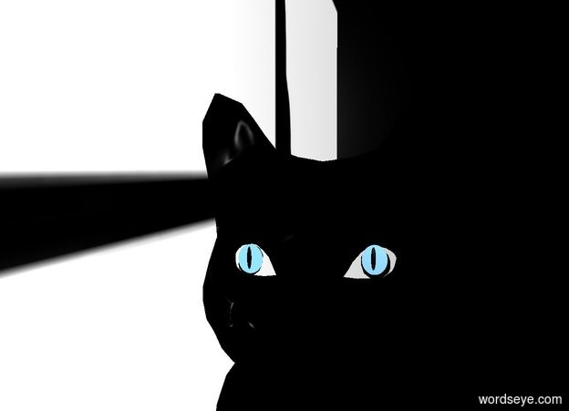 Input text: a large black cat is in front of and -6 feet right of and -18 feet above a window wall. the wall leans 90 degrees to the left.  the cat faces left. it leans back. shadow plane is invisible. backdrop is black. ambient light is white. a 1st 60% cornflower blue .055 foot wide and .065 foot deep and .001 foot tall circle faces left. it leans 90 degrees to the front. it is -.6 foot left of and -.525 feet above and -.38 feet behind the cat. a 2nd 60% baby blue .055 foot wide and .065 foot deep and .001 foot tall circle faces left. it leans 90 degrees to the front. it is .21 foot in front of and -.07 feet above the 1st circle. a 1st .01 foot tall and .05 foot wide flat black egg faces left. it leans 90 degrees to the right. it is -.01 foot left of and -.04 foot behind the 1st circle. a 2nd .01 foot tall and .05 foot wide flat black egg faces left. it leans 90 degrees to the right. it is -.01 foot left of and -.04 foot behind the 2nd circle.