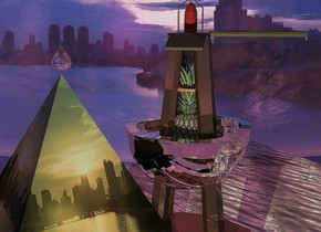 Wet shiny backdrop. City pyramid. Camera light is black. A lemon light is right of the pyramid. A silver bicycle helmet is behind the pyramid. It is upside down. A pineapple is in the helmet. Invisible shadow plane. A 30% shiny dark buoy is -2 feet above the helmet. Sun is crimson. A water rug is behind the buoy. A huge pink drop is above the pyramid.