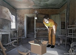 a man.a box is in front of the man.a drone is -8 inches above the man.it is 1 feet in front of the man.a egg is -3.5 inches beneath the drone.a lemur is -6 inches above the box.it is facing right.room backdrop.pale shadow plane.