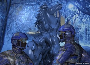a man.night backdrop.the man's mask is clear.a 6 feet tall soldier is right of the man.he is facing the man.a delft blue statue is 5 feet behind the soldier.the man is facing right.