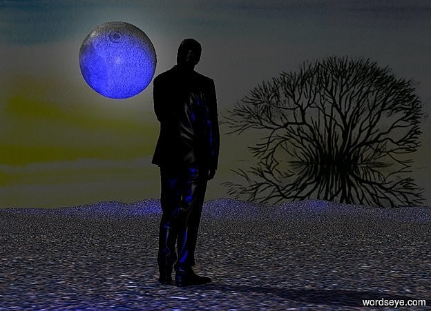 Input text: a 90 inch tall black man.it is afternoon.the man is facing north.three blue lights are 45 inch in front of the man.camera light is gray.ground is [sand].ground is visible.sky is black.backdrop is 30% dim.a 30 inch tall  moon is left of the man.the moon is -20 inch above the man