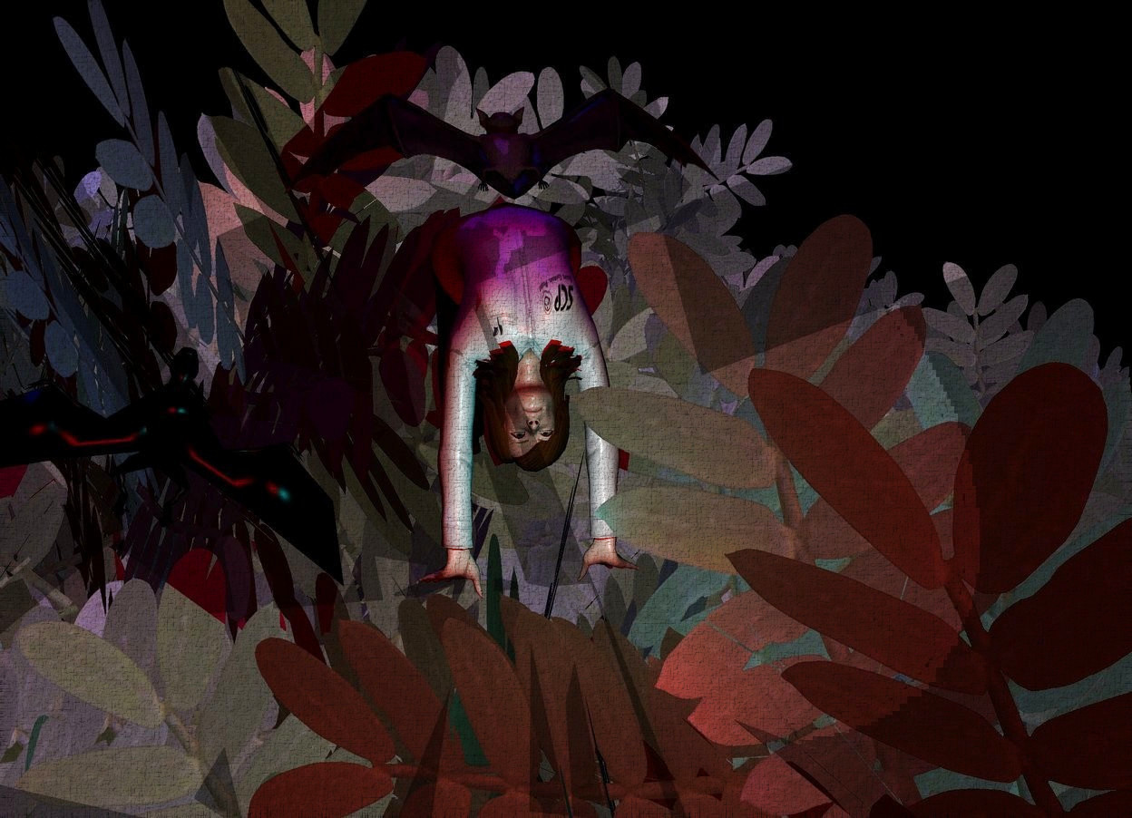 Input text: A tiny woman is 2 feet in a tree. It is night. Camera light is red. A navy light is 4 feet above and in front of the woman. A cyan light is behind the woman. A bat is above the woman. A purple light is in front of the bat. A bat is right of the woman. It is leaning right.