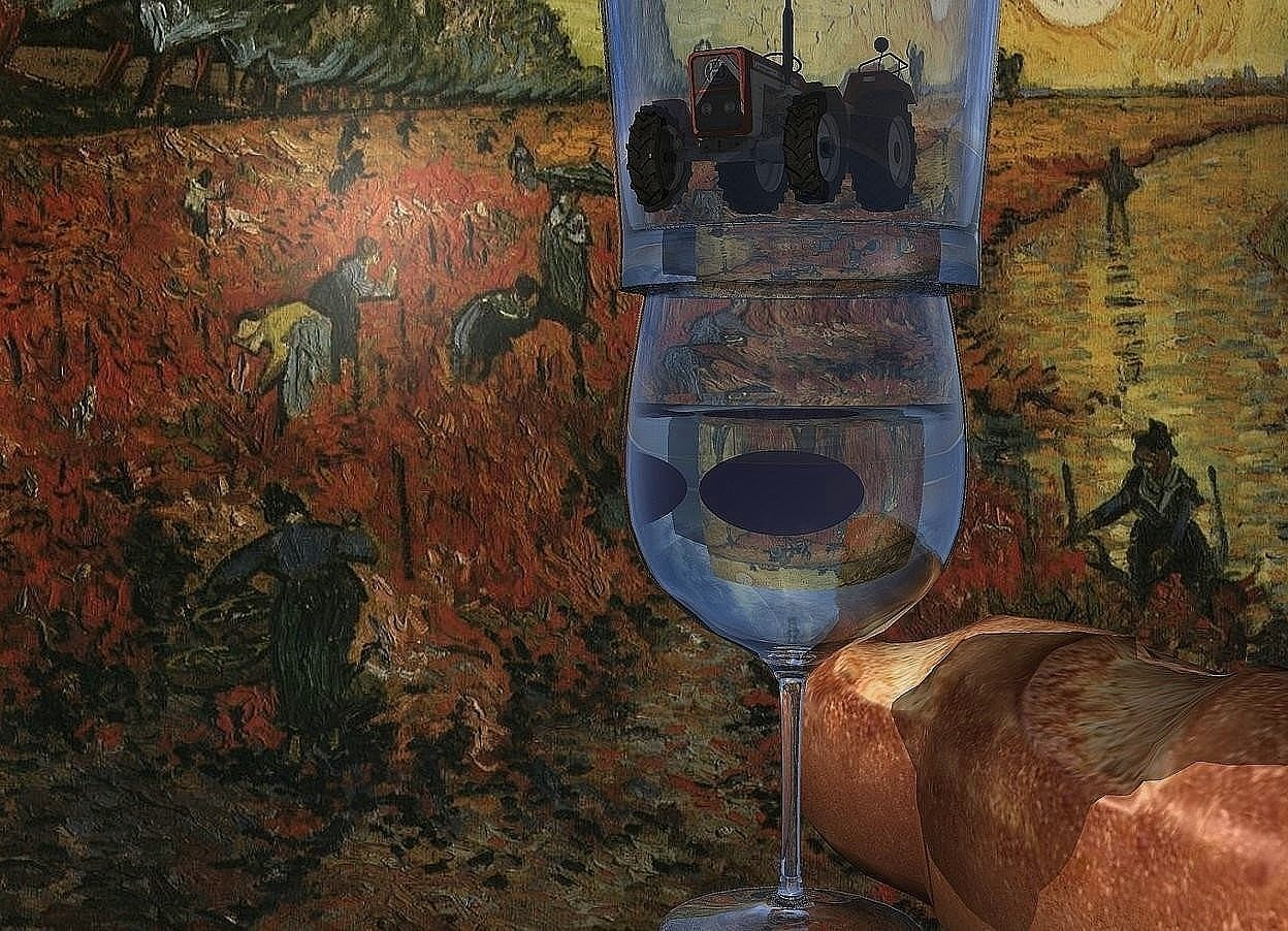 Input text: A tractor fits in a glass. Vineyard backdrop. The tractor is in a glass. Small purple grapes are -3 inch above the glass. Bread is -4 inch right of the glass. It is facing southwest.