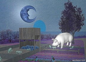 a shiny [hs] backdrop.a 5 inch tall white pig.the pig is facing southwest.sky is  black.a 6 inch tall  delft blue shiny moon is 3 inch above the pig.the moon is facing east.the moon is 5 inch left of the pig.