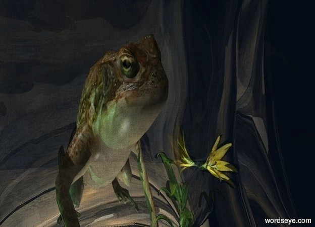Input text: a 10 feet tall ripple.a 2.5 feet tall frog is -5 feet above the ripple.sky is [water].a 2 feet tall lily is in front of the frog.a sea green light is left of the frog.