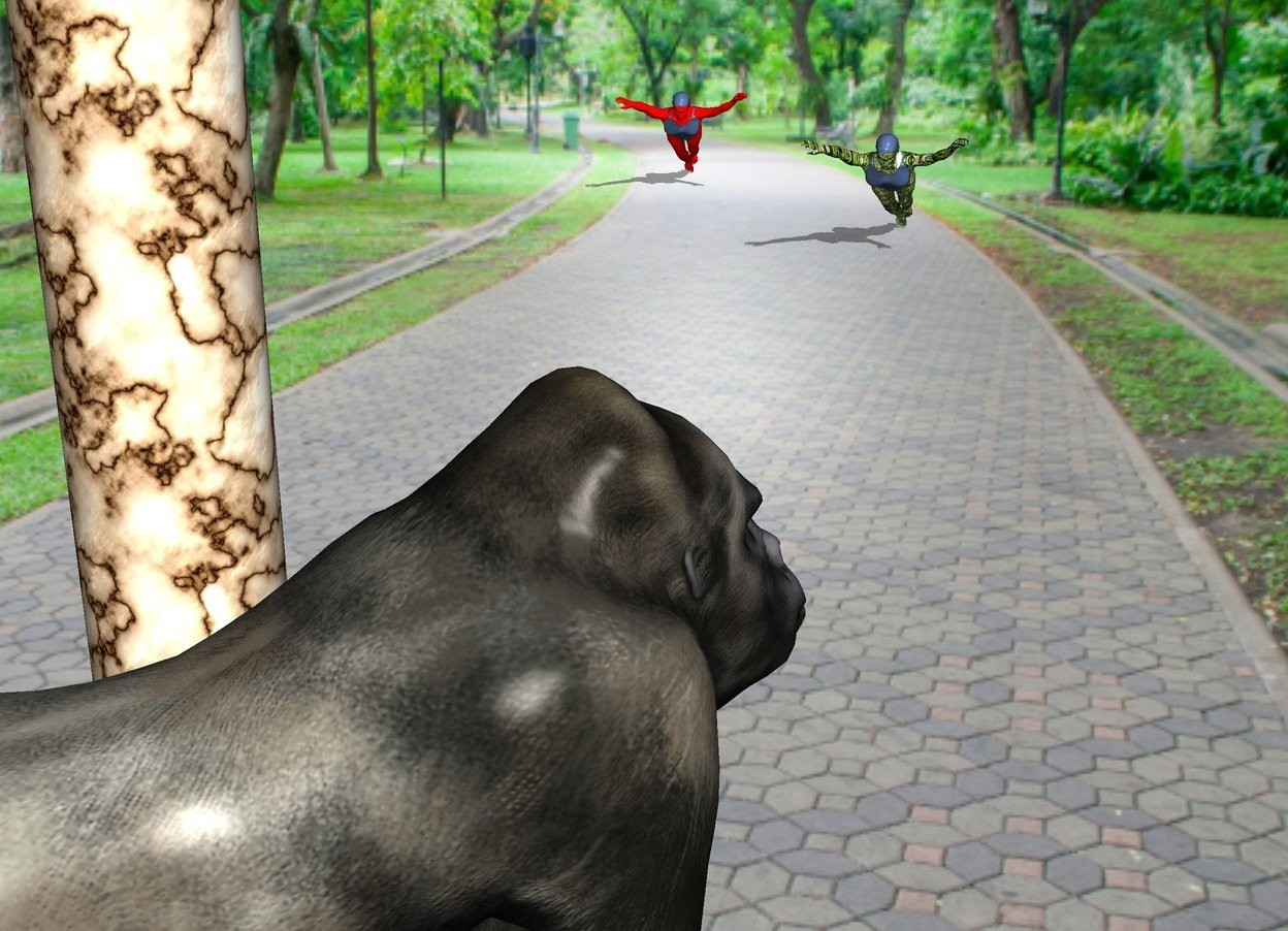 The  image  backdrop. A crisp gorilla is 1 foot left of a marble pillar.  A grassy woman is 15 feet southeast of the pillar. The woman is  facing the gorilla.  A red woman is 3 feet right of the woman. The woman is  facing the gorilla.