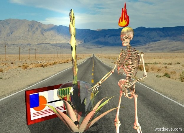 Input text: The desert agave is inside the bubble on the desert. The skeleton is 1 foot to the right of the bubble. The fire is above the skeleton. The picture is facing right. The yellow light is 1 foot above the skeleton. A white light is a foot right of the skeleton. A red light is in front of the skeleton.