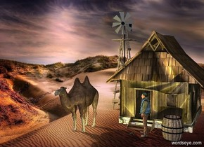 a house.desert backdrop.a man is in front of the house.a camel is left of the house.it is in front of the house.the man is facing the camel.pink sun.a wood windmill is 10 feet behind the camel.a 60% yellow light is 1 feet right of the camel.a wood barrel is 1 feet right of the man.a large salamander is left of the man.