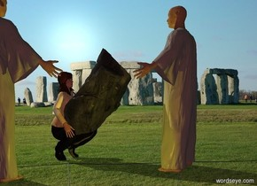 The shirt of a scientist is [brown]. The scientist is -1.5 feet left of a grey rock. She is facing the rock. The rock is leaning 60 degrees to the right. The rock is -3.3 feet above the scientist. Stonehenge backdrop. A monk is 2 feet in front of the scientist. He is facing the scientist. A monk is 3 feet right of the scientist. He is facing the scientist. Camera light is brown. 3 dim yellow lights are in front of and left of the monk. Cream sun.