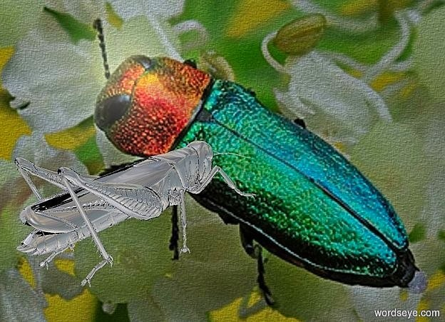 Input text: a [ca] backdrop.a 6 inch tall  silver grasshopper.the grasshopper is facing northeast.