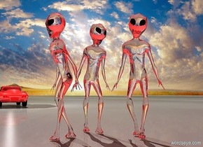 a 1st clear alien. a 2nd clear alien is behind and -2 feet right of the alien. she faces right.sky is red. a a 3rd clear alien is  right of and -1 foot behind the 2nd alien.the 3rd alien faces southeast. a small shiny car is 20 feet left of the 2nd alien. it is on the ground. it faces left. a light is on the car. ground is visible. ground is pavement. shadow plane is invisible. camera light is red.