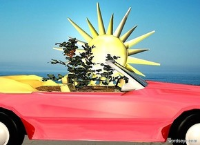 a shiny convertible.  a 6 foot deep and 4 foot wide and 3 foot tall garden is -2 foot above and -12 feet in front of it. a 10 foot tall sun symbol faces left. it is 5 feet right of the car. camera light is tan. a goldenrod light is on the garden.