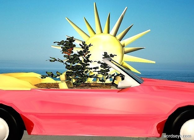 Input text: a shiny convertible.  a 6 foot deep and 4 foot wide and 3 foot tall garden is -2 foot above and -12 feet in front of it. a 10 foot tall sun symbol faces left. it is 5 feet right of the car. camera light is tan. a goldenrod light is on the garden.