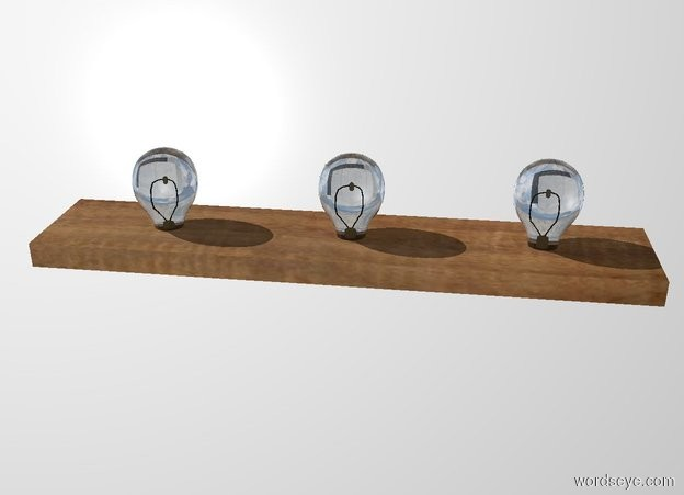 Input text: a 3 feet long .6 feet deep and 1.5 inch tall [wood] plank. white backdrop. 1st large bulb is -.78 feet left of and -.2 feet above the plank. 2nd large bulb is .6 feet right of the 1st bulb. 3rd large bulb is .6 feet right of the 2nd bulb.