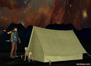 a olive tent.the sky is [image-11827].the ground is 230 feet tall.the ground is night.a man is left of the tent.he is -12 inches in front of the tent.the man is facing northeast.it is evening.a tall telescope is left of the man.it is facing northwest.a dog is in front of the tent.it is facing the man.