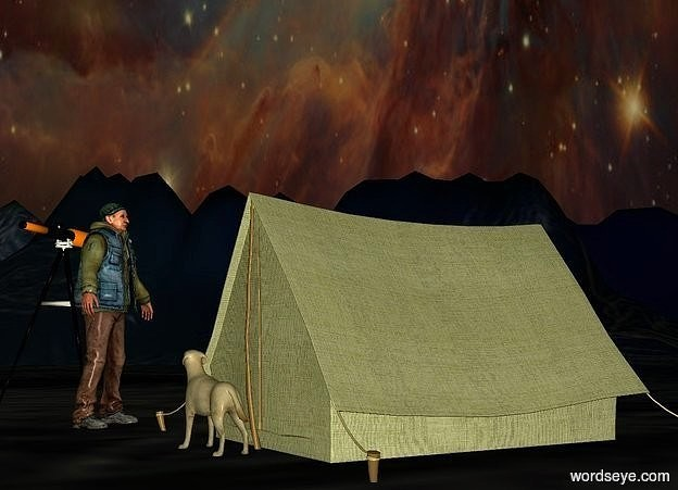 Input text: a olive tent.the sky is [image-11827].the ground is 230 feet tall.the ground is night.a man is left of the tent.he is -12 inches in front of the tent.the man is facing northeast.it is evening.a tall telescope is left of the man.it is facing northwest.a dog is in front of the tent.it is facing the man.