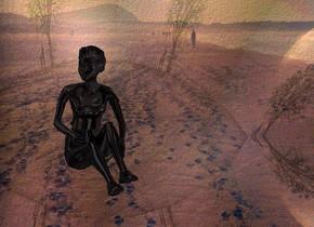 a shiny  [vg] backdrop.sky is  [fog].camera light is black.sky is 3500 feet wide.a 2 inch tall shiny black woman.the woman is facing southeast.