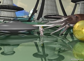 the small red man is several inches in front of the very large squid. man is facing right. the ground is shiny. the huge gold sphere is 10 feet to the right of the man. The UFO is 6 feet to the left of the man.