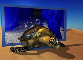 a 150 inch tall delft blue monitor.the display screen of the monitor is 250 inch wide [splashing].a 90 inch tall and 200 inch wide and 300 inch deep turtle is -190 inch in front of the monitor.two orange lights are 100 inch above the turtle.it is afternoon.