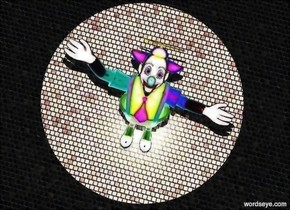 clown leans  to the back.  it is night. a tiny pink light is 10 feet above the clown. a 1 foot tall tube is -.7 foot above the light. ground is 5 foot wide extremely dark [tile].