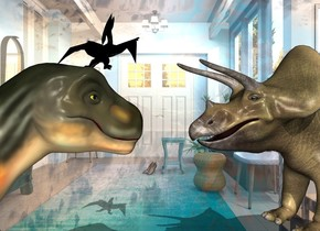 The shiny vestibule backdrop. The first dinosaur. The second small black dinosaur is -5 inches  above and -20 inches to the right of the 1st dinosaur. It is -55 inches in front of the 1st dinosaur. It is leaning 50 degrees to the back. It is facing southeast.  A 3rd dinosaur is in front of the 1st dinosaur. It is facing back. It is leaning back.